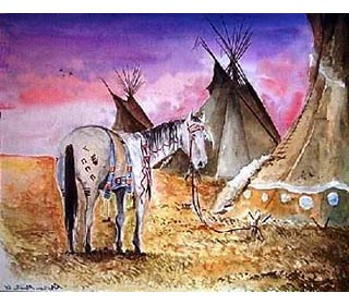 American Indian War Paint Symbols Painted native american horse